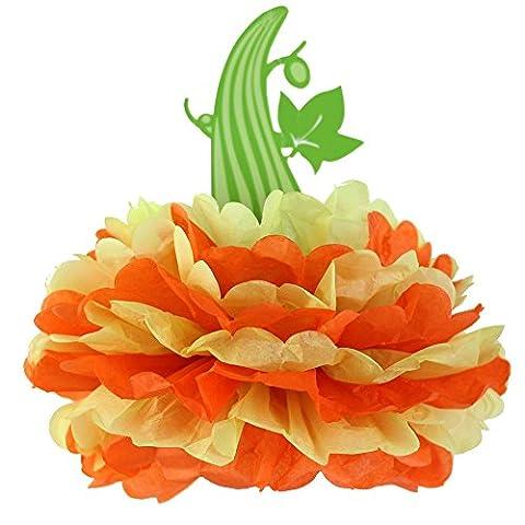 SUNBEAUTY Pack of 3 Halloween Pumpkin Tissue Paper Pom Poms