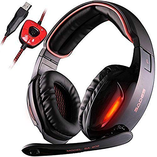 PC MAC PS4 Gaming Cuffie, SADES 902 USB Cuffie da Gioco con Microfono Surround 7.1 Gaming Headset per PC MAC Computer controllo volume luce LED(Rot)