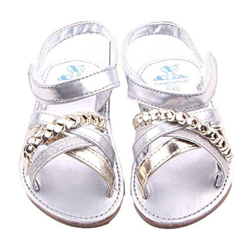 Sandalias de Vestir Niña K-youth® Moda Zapatos Bebe Niña Verano Bebé Al Aire Libre Sandalias Niño Pequeño Princesa Primeros Andadores Niñas Zapatos Bebe Recien Nacido (13(12-18 Mes), Plateado)