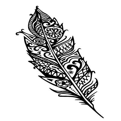 Wadeco Gemusterte Feder Feather Wandtattoo Wandsticker Wandaufkleber 35 Farben verschiedene Größen, 58cm x 14cm, silber Verschiedene Vogelfedern