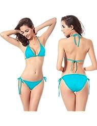 Semoss Maillot de Bain Femme Sexy Bikini Push Up 2 Pièces Triangle Tenue de Plage Fille Bikini Bandeau Bleu,Taille:M,EU 34-36