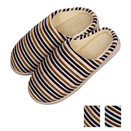 Transer® Unisex - Erwachsene Plüsch Hausschuhe Herbst/Winter Warm Schuh Plüsch+TPR Sandelholz Slipper Schuhe Länge 28.9cm (Bitte achten Sie auf die Größentabelle. Vielen Dank!) Navy