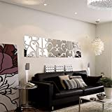 S.Twl.E Wandaufkleber Wandmalerei Kunst Dekor Herausnehmbaren Wasserdichten TV Kombination Spiegel Wandhalterung, Stilvolles Wohnzimmer Einrichtungsideen Wand-, 30 * 30 cm, Vier Schwarze