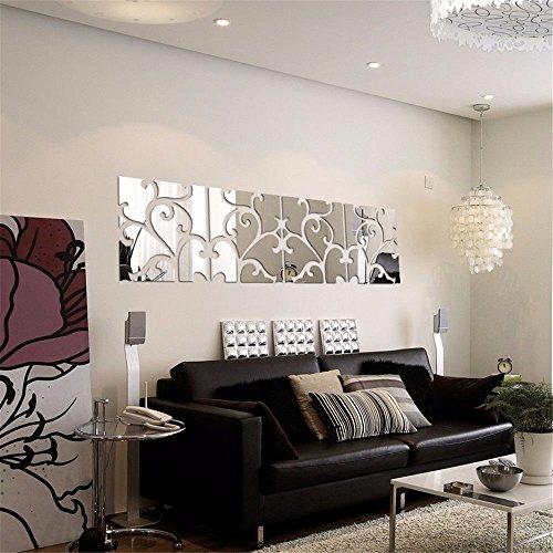 r Wandmalerei Kunst Dekor Herausnehmbaren Wasserdichten TV Kombination Spiegel Wandhalterung, Stilvolles Wohnzimmer Einrichtungsideen Wand-, 30 * 30 cm, Vier Schwarze (Fenster Einrichtungsideen)
