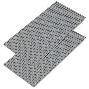 Katara 1672Diseño Placa Base 2Unidades 1632cm, Compatible Lego, SLUBAN, papimax, Q de Bricks, Gris