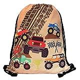 HECKBO® Jungen Jungs Kinder Turnbeutel - Monster Truck Motiv (beidseitig) - waschmaschinenfest - 40x32cm - Kindergarten, Krippe, Reise, Sport, Schule - Rucksack, Tasche, Spieltasche, Sporttasche,