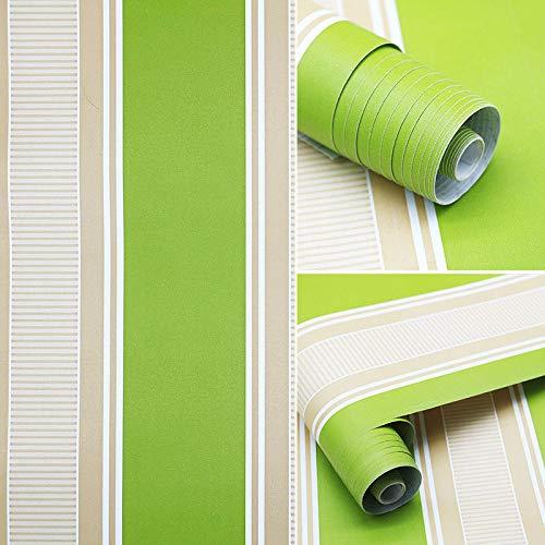 YIWAN Entfernbare Wandaufkleber Tapetenaufkleber selbstklebend wasserdicht und ölbeständig Kunst Schlafzimmer Küche Bad Kunstwerk Wandbild grüne Streifen / 45 cm * 10 m