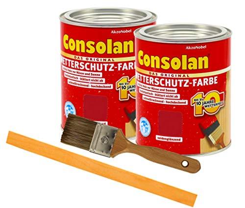 Consolan Wetterschutzfarbe deckend / 2x 0,75L rot 211 / Holzschutzfarbe Holzfarbe bis zu 10 Jahre wetterbeständig für Holz und Zink Außen inkl. Pinsel & Rührstab
