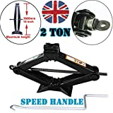 Scissor Lift Jack 2 Tonne With Speed Crank Handle Universal Solid Steel Jacks