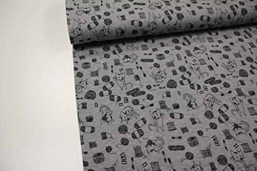 Stoff / Meterware / ab 25cm / beste Jersey-Qualität / Jersey Katzen, Wolle schwarz auf grau meliert (Wolle-jersey Schwarze)