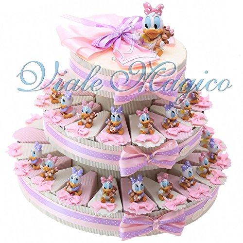 Bomboniere disney nascita battesimo primo compleanno torta statuina paperina (35 pezzi)