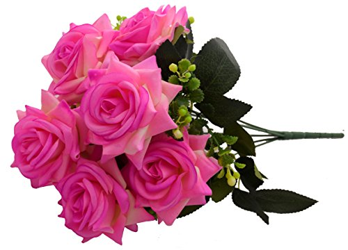 Fourwalls Artificial Velvet Rose Bouquet (40 cm, Light Pink, 7 Branches)