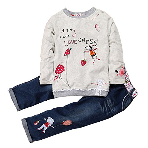 Zhuannian Lovely Little Girls Long Sleeve Sweater Cartoon Pullover Top and Jeans Outfit Sets (18-24months)