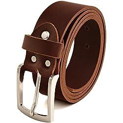 Fa.Volmer marrón Vintage Cinturón de piel de búfalo cuero 40 mm de ancho y aprox 3-4 mm de grueso, puede acortarse, cinturón, cinturón de piel, cinturón de traje, Br007-02 (waist size 135 cm)