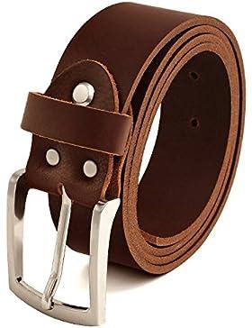 Fa.Volmer marrón Vintage Cinturón de piel de búfalo cuero 40 mm de ancho y aprox 3-4 mm de grueso, puede acortarse...