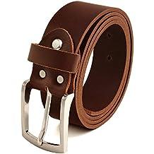 6c9346664c39a6 Volmer Braune Ledergürtel aus Büffelleder, 38mm breit und ca. 3-4mm