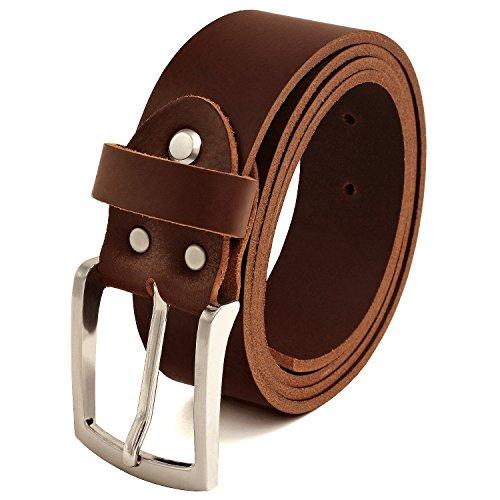 Fa.Volmer ® Gürtel Herren Ledergürtel aus Büffelleder für Männer Jeans Echtleder Braun 38mm breit kürzbar #Br007-02 (Bundweite 95cm)