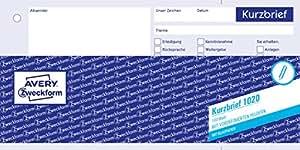 Avery Zweckform 1020 Kurzbrief 13 A4 Mit 1 Blatt Blaupapier 100