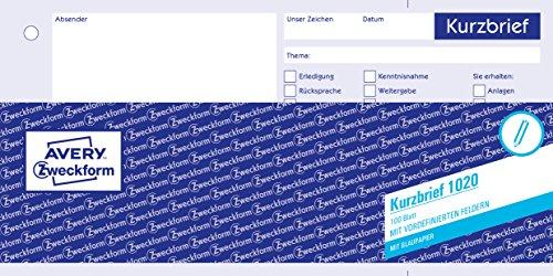 AVERY Zweckform 1020 Kurzbrief (1/3 A4, mit 1 Blatt Blaupapier, 100 Blatt) weiß
