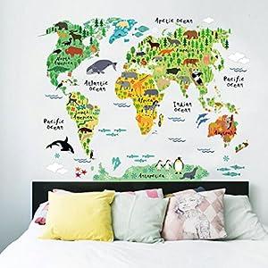 STRIR Mapa Del Mundo de La Historieta Animal Lindo Pegatinas de Pared, Vivero Habitación de Los Niños Removible Etiquetas de La Pared/Murales