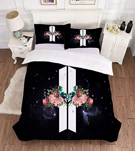 11 Stück Bettwäsche (3D Bewirken Bettbezug-Set BTS 3 Stück Bettwäsche mit Reißverschluss und Sicherheit Bänder Einfach Pflege Textilien Schlafzimmer Geschenk,11,Twin)