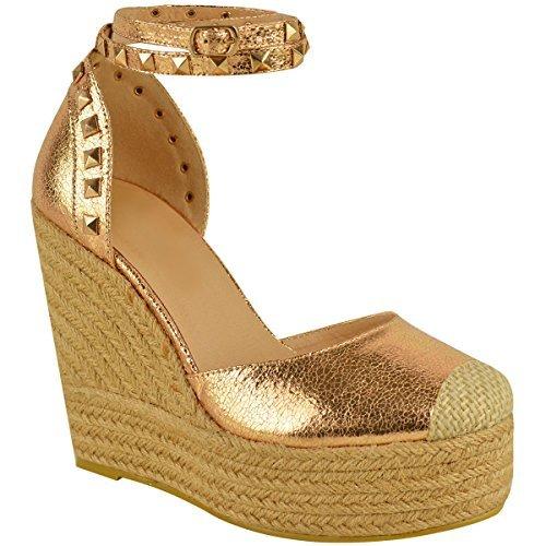 NUOVO Donna Alto tacco con zeppa sandali con plateau cinturino alla caviglia, estivo Espadrillas Taglia - rosa dorato PIEGHE metallizzato, 39
