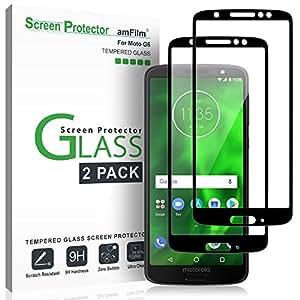 Moto G6 Panzerglas Displayschutzfolie, amFilm Vollständige Abdeckung Panzerglas (Gehärtetem Glas) Schutzfolie für Motorola Moto G6 (2 Stück, Schwarz)