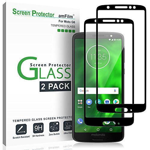 amFilm Panzerglas Bildschirmschutzfolie für Moto G6 (2 Stück), Vollständige Abdeckung Glas Schutzfolie für Motorola Moto G6 (Schwarz)
