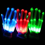 Yonmax Blinklicht Handschuhe Beleuchtung 12 LED Handschuhe ÄNDERN Halloween Party Christmas Weihnachten Bühnenaufführung Gift