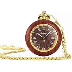 UNIQUEBELLA Pocket watch-Quartz-Wooden-Unisex-Vintage-Alloy Chain-C4 F206-Red