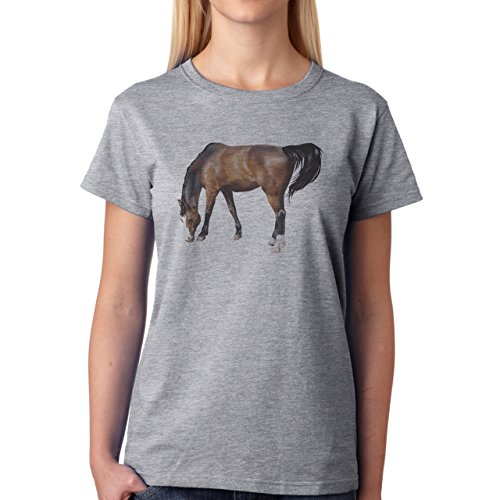 Horse Animal Pony Stud Real Damen T-Shirt Grau
