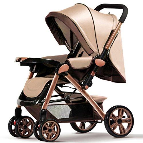 Falten Sie Unten (Baby Trolley Kind Spaziergänger Ultraportable können sitzen und legen Sie unten falten vier Runden Hochlandschaft Sommer Baby Kind Säugling Baby Wagen Faltbarer Baby Kinderwagen für Kinder ( Farbe : A ))