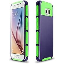 Xinda Galaxy S6 Edge Plus carcasa antigolpes doble capa resistente carcasa Armor PC caso duro para Samsung Galaxy S6 Edge Plus , Dark Blue+Green,
