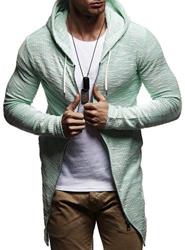 LEIF NELSON Herren Sweatjacke Kapuzenpullover Hoodie Pullover Jacke Sweatjacke Sweatshirt Longsleeve T-Shirt Langarm LN8123; Größe S, Mint |