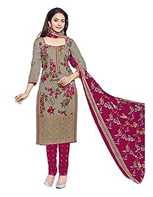 Dress (Sai Fab Women's 100% Pure Cotton Grey Printed Un-stitched Dress Material)