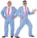 Foxxeo 40102 | blauer 50er Jahre Anzug für Herren - Das Kostüm für Rock in Roll Motto-Partys | Größe M, L, XL | Disco Teds Ted Cosh Boys 60er 70er 80er 90er Teddy Boy, Größe:XL