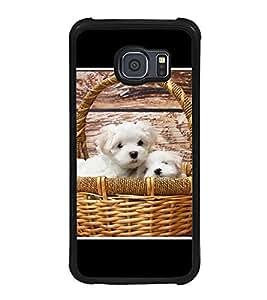 Fuson Designer Back Case Cover for Samsung Galaxy S6 G920I :: Samsung Galaxy S6 G9200 G9208 G9208/Ss G9209 G920A G920F G920Fd G920S G920T (Puppies Basket Wood Basket Lovely Cute)