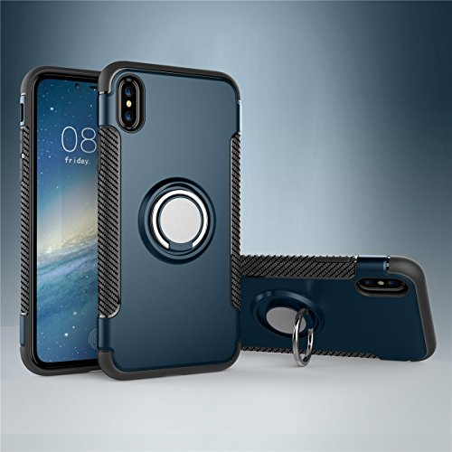 CaseforYou Hülle iphone X Schutz Gehäuse Hülse Shockproof Protective Case Cover with Rotating Ring Grip Stand Holder Schutzhülle für iphone X Handy (Navy Blue) Navy Blue