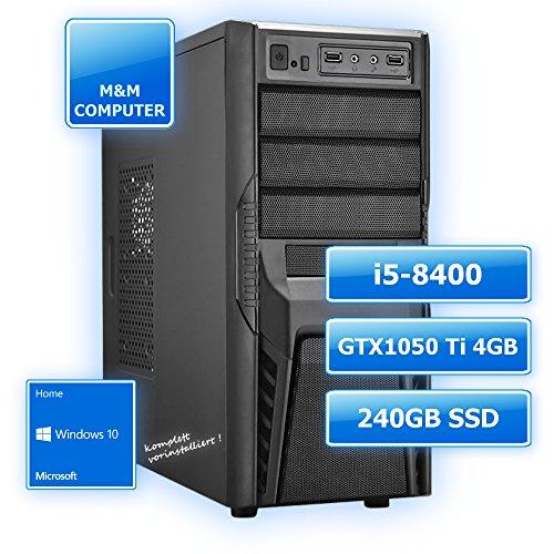 M&M Computer Dresden Multimedia Gaming-PC INTEL, Intel Core i5-8400 (Sixcore/Hexacore), Geforce GTX 1050 Ti Gamer Grafikkarte mit 4GB, 240GB SSD , 8GB DDR4 RAM 2133MHz, Gigabyte Mainboard, DVD-Brenner, MTEC-Gehäuse mit 600Watt Netzteil, Windows10 Home vorinstalliert inkl. Treiber, PC-Kauf-Empfehlung