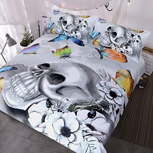 JSDJSUIT Bettwäsche gesetzt Schädel Rose Bettwäsche Vintage Halloween Schädel und Hippie Schmetterlinge Bettwäsche Bettbezug, Grau, 3 Stück-X-Twin 4St