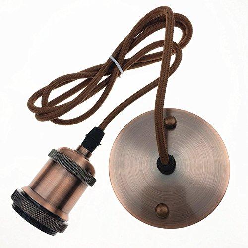 Hu fun life e27 edison lampada da soffitto lampada a sospensione portalampada rame vintage retro antique con cavo da 1,4 metri (red bronze)