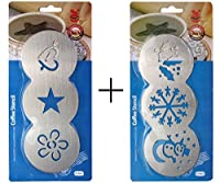 SUPER VALUE COMBO PACK!! 3 Heart Design + 3 Snowman Design Stainless Steel Coffee Stencils