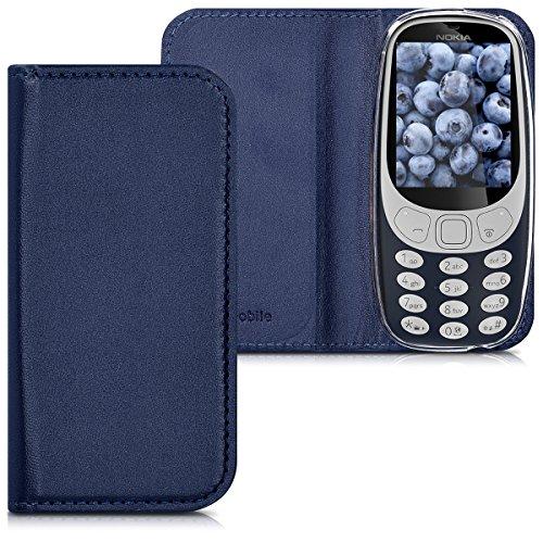 kwmobile, Custodia protettiva con apertura a libro in simil pelle per Nokia 3310 (2017), Blu scuro