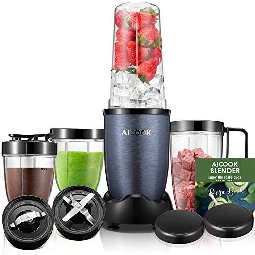 Standmixer, Aicook Smoothie Maker, 900W Hochleistungsmixer Smoothie Mixer mit 4 BPA-freien Tritan Trinkflasche, 2 Edelstahlklingen, Blau