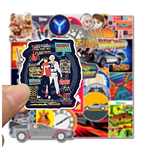 DZCYAN 50Pcs Classic Movie Back to The Future Stickers for Luggage Laptop Art Painting DIY Poster Stickers Waterproof Skateboard Toys