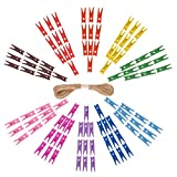 eZAKKA 100 Pièces Mini En Bois Naturel Clips Colorée pour Photo Clips Pince À Linge Craft Décoration Clips, avec Une Ficelle De Jute De 10 Mètres