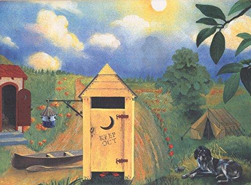 Retro Art Land Seite Gemüse und Obst Eimer Häuser Halloween Kürbis Rolling Hills extrabreite Wallpaper Grenze Retro-Design, 15' x 12
