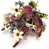 KING DO WAY Bouquet Di Piccolo Margherita Fiori Finti Artificiali Piante Casa Ufficio Matrimonio Decorazione Artificial Flower-Viola Bianco