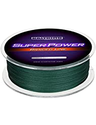 KastKing SuperPower Sedales Trenzados Línea 10LB-150LB, 0.08mm-0.80mm, Dyneema trenzado PE - 300M / 500M / 1000M (Green, 300M 30LB 0.25mm)