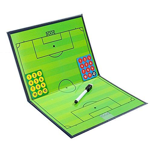 1 Stück Professional Faltbares Fußball Taktiktafel Taktikbrett Taktikmappe fussball Coach-board Strategie-Brett Magnete Fußball Magnetic Coach Board von Sue Supply für Professional Fußball Trainer,27x20.5cm